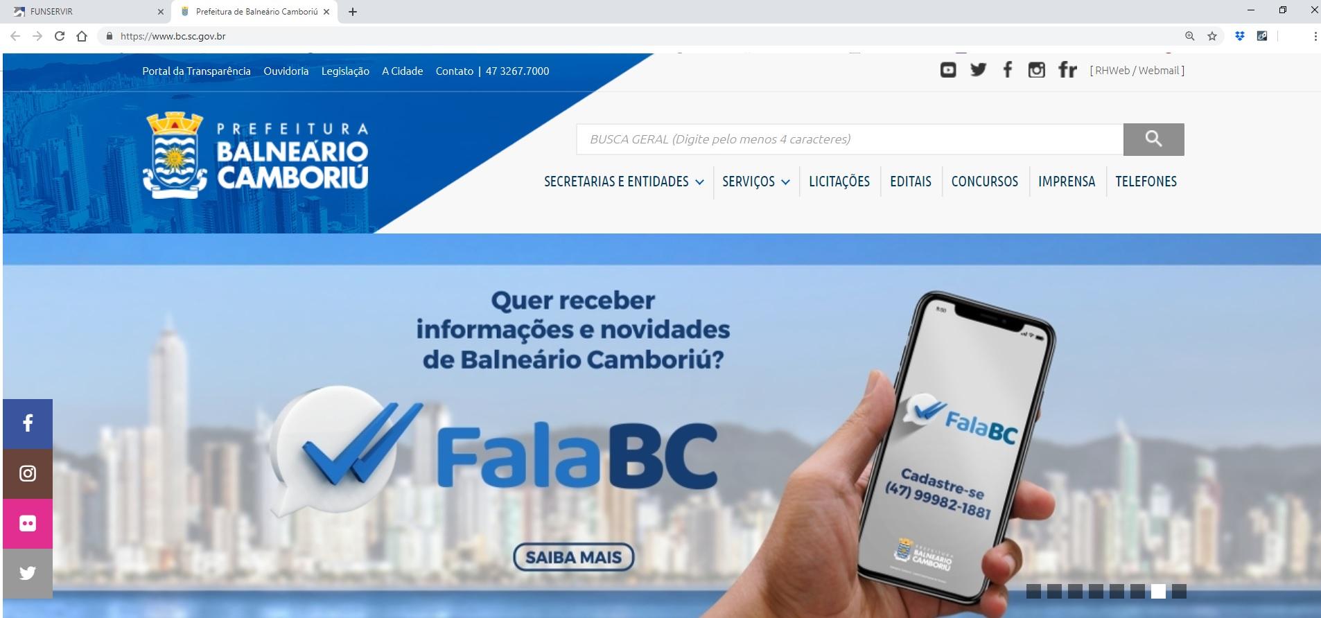 Site Prefeitura Balneário Camboriú